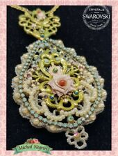 Necklace Lovely Jewelry Michal NEGRIN Swarovski Crystals Flowers LACE Israel