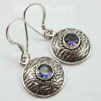 "RETRO STYLE JEWELRY, 925 Solid Silver Classic IOLITE Earrings 1.3"" 3.5 Grams"