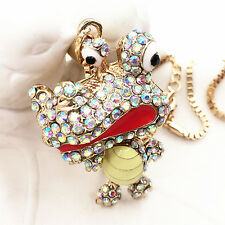 Gold Plated Crystal Cartoon Crocodile Alligator Pendant Necklace Sweater Chain
