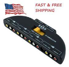 4-Way Audio Video AV RCA Switch Game Selector Box Splitter Black USA SELLER