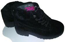 Bobbie Brooks Girls Black Boot - Lace Up Round Toe Faux Fur Suede Shoe