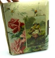 Antique Photo Album with Celluloid Cover Girl with Basket of Flowers