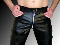 Leder Hose Lederhose Lederjeans UNGEFÜTTERT UNLINED leather pants black Cuir