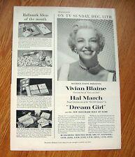 1955 Movie Ad  Vivian Blaine Star of Guys & Dolls on TV Dream Girl Hal March