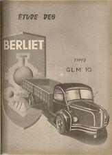 REVUE TECHNIQUE AUTOMOBILE 97 RTA 1954 ETUDE CAMION BERLIET GLM 10 GLM10
