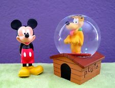 Disney Store Mickey Mouse & Pluto Snowglobe & Figurine Set New in Box