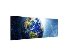 120x40cm Planet Erde Panorama Weltraum Sterne All Kosmos Leinwand Bild Sinus Art