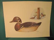 MACKEY MASON WOOD DUCK DECOY PRINT 1981 HILLCREST PUBL.