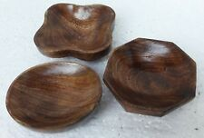Wooden Bowl Old Hand Made Carved Unique Bowl Home Collectible Art Lot of 3
