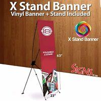 "X Stand Banner 24"" X 63"" w/ travel bag plus custom banner"