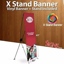 "X Stand Banner 24"" X 63"" w/ travel bag plus custom banner"