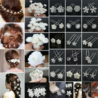 Bridesmaid Bridal Wedding Jewelry Pearl Crystal Flower Bowknot Hair Clip Hairpin