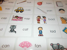 Letter 'A' CVC Picture and Word Laminated Flashcards.  Preschool-1st Grade ELA