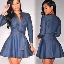 Women's Belted Denim Dress Long Sleeve Button Up Casual Jeans Shirt Mini Dress