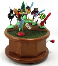 1979 ENESCO Hand Crank Music Box Insects Bug Band Plays When The Saints