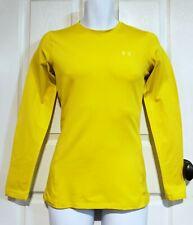 Under Armour Coldgear Yellow Crew Neck Long Sleeve Fitted Shirt Mens Sz Medium