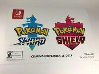 "Pokemon Sword & Shield Promo Promotional Display Wall Poster 26"" x 18"" Nintendo"