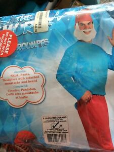 Papa Smurf Costume Adult Halloween Fancy Dress shirt and pants only XL