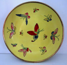 Vintage Toyo Asian Porcelain Bowl Yellow with Butterflys Moths Encased in Brass