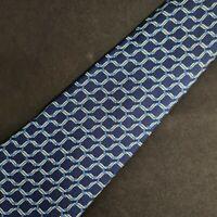 Hermes Paris Made in France Silk Tie Blue Horseshoe Pattern 7124 FA 59 X 3.5 💙