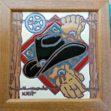 "Krit Framed Wall Tile Cowboy Hat Star Texas Western 6 X 6"""