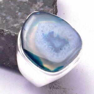 Solar Agate Ethnic Handmade Man's Ring Jewelry US Size-8.75 AR 28500