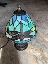 Antique Dragonfly Tiffany Style Stained Glass Table Lamp with Metal Base
