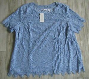 Isaac Mizrahi Live! Blue Engineered Lace Short-Sleeve Knit Top Size XL