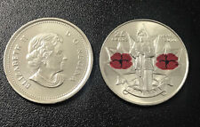 """CANADA 25 CENTS """"REMEMBRANCE DAY""""TWO POPPIES 2010 UNC"""
