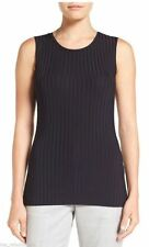 NEW Hugo Boss BOSS 'Edori' Ribbed Jersey Shell Top Tank-Black size S
