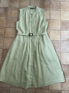 Laura Ashley Lime Green Linen Shirt Dress, Size 14, Very Good Condition