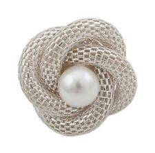 Zest Coil Flower Ring with Pearly Centre Stone Silver