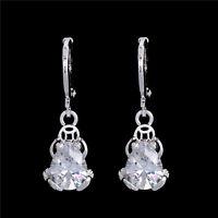 Silver Cubic Zirconia Frog Crystal Drop/Dangle Hoop Earrings Antiallergic