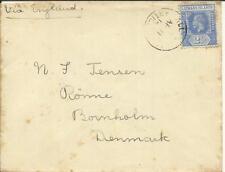 Leeward Islands SG#50(single frank) ALL SAINTS, ANTIGUA AP/11/14 to DENMARK