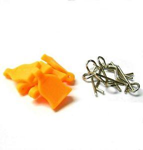 1/16 1/10 Scale RC Car Small Silver Body Clips R Pin x 4 + Rubber Orange Grips