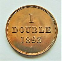 1893H GUERNSEY 1 Double,  orange grading Choice UNCIRCULATED