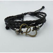 Bracciale Cuoio Nero Cuori Braccialetto Cuore idea regalo amicizia donna ragazza