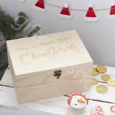 Engraved Solid Wooden Christmas Eve Xmas Keepsake GIft Box Kids Children Adults