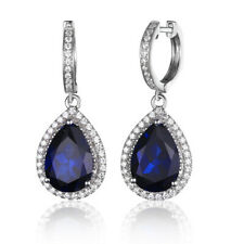 925 Sterling Silver Sapphire Zircon Women Jewelry Engagement Drop Earrings SE036