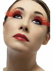 Long Red Fever Eyelashes with 5 diamantes - Fancy Dress Accessory