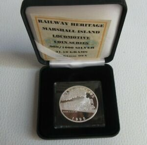 1996 Steam Train RENFE CLASS 242 MARSHALL ISLANDS $50 Dollars Silver Proof Coin