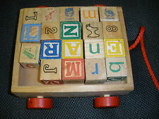 Wooden Blocks in a wooden pull cart