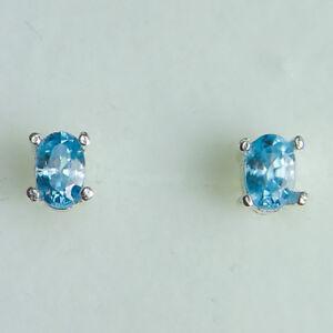 Natural paraiba blue zircon 925 Silver 9ct 14k 18k Gold Platinum stud earrings