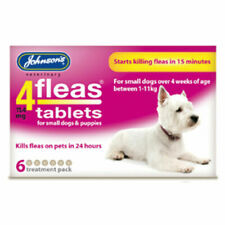 JOHNSONS 4 FLEAS TABLETS for SML DOG / 1-11KG | 6 TREATMENT PACK | FLEA KILLER