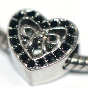 1X Heart Black Bead Charm Silver Fit Eupropean Chain Bracelet Making Jewelry DIY