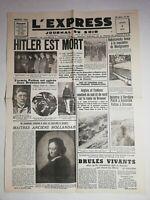 N1218 La Une Du Journal L'Express 3 mai 1945 Hitler est mort