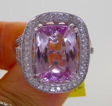 Stunning 13.58ct UNHEATED NATURAL VS1 Pink Kunzite Diamond 14k Gold Halo Ring