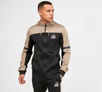 Kings Will Dream KWD Mens New Tracksuit Top Poly Zipped Hoodie Black Sand Vesy