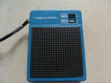 Vintage Realistic Radio Shack AM/FM Handheld Transistor Radio Blue Antenna