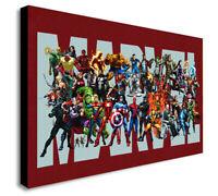 Marvel Super Heroes Logo - Canvas Wall Art Framed Print - Various Sizes